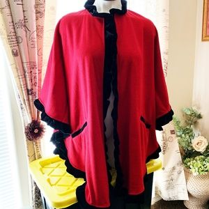 Le Moda, Red/Black Trim Cape NWT One Size (550)